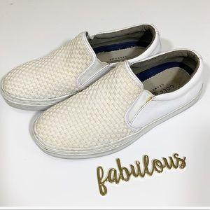 Cole Hann cream & white basket weave slip on